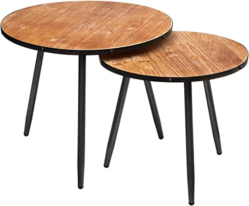 HollyHOME Accent Round Coffee Nesting Table