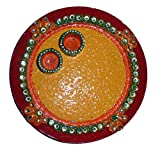 DECORATIVE WOOD ROUND ARTI THALI / POOJA THALI / WORSHIP