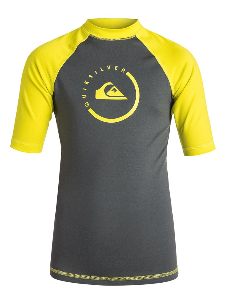 Quiksilver Men's Lock Up Short Sleeve Surf Rashguard, Dark Shadow/Sulphur Springs, Large