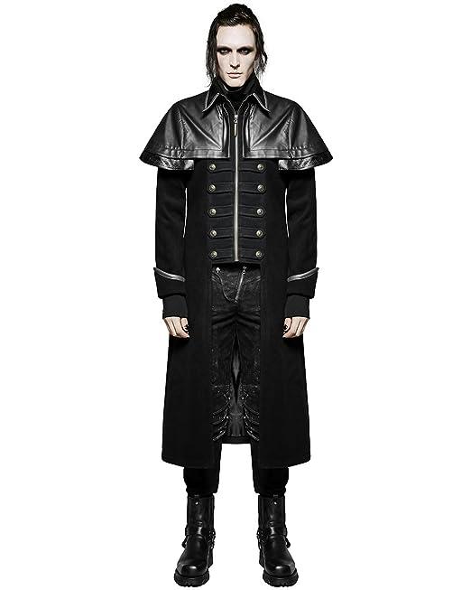 Punk Rave - Abrigo largo chaqueta negro gótico Steampunk VTG Militar Highwayman: Amazon.es: Ropa y accesorios