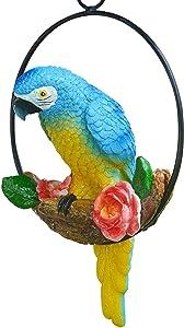 Tlymopukt Parrot Decor,Hanging Bird Statue Home Garden Hanging Parrot Decorations,Bird Parrot Ornament Resin Animal Model Statues DIY Lawn Sculpture Tree Decor Innovative Iron Ring Parrot Decoration