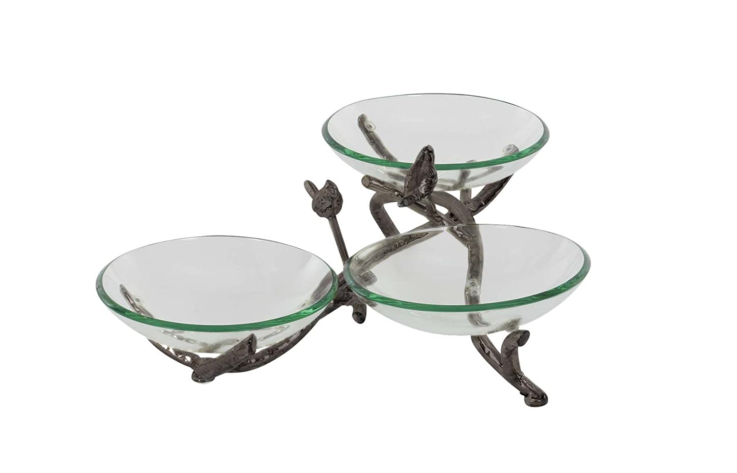 Deco 79 68583 Glass Triple Bowl with Iron Twig Holders and Stand Black//Green