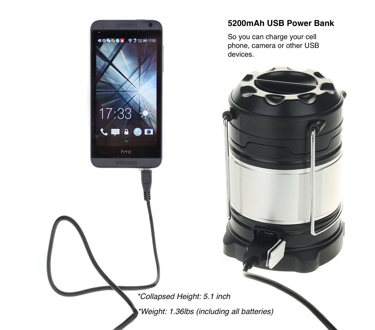 Batteries and Hanging Clip Included SUBOOS Ultimate Rechargeable LED Lantern and 5200mAh Powerbank Great for Camping Hiking 4 Light Modes-Dual Power Auto Emergencies