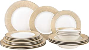 """EURO Porcelain 20-pc. Dinner Set Service for 4, 24K Gold-plated Luxury Bone China Tableware (""""Marilyn"""" 6480-20Y)"""
