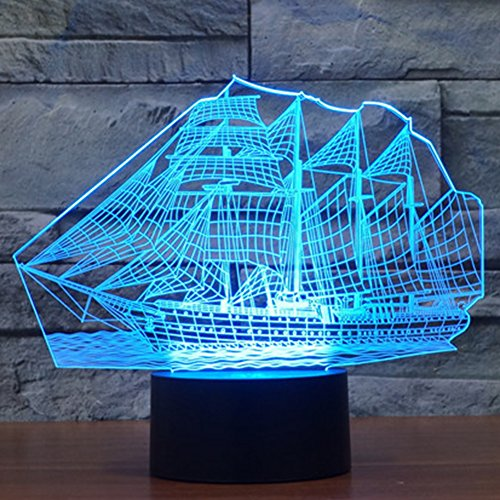 Sail Ship Boat 3D Lamp Optical Illusion Night Light for Baby Nursery 7 Changing Color Toys Gift Best Bedroom Additions Home Decoration by YKL WORLD