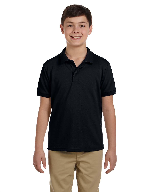 Gildan Boys 6.5 oz. DryBlend Pique Sport Shirt (G948B) -Black -S-12PK
