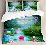 Ambesonne Nature Duvet Cover Set King Size, Fantasy Pond with Water Lilies Floating Romantic Lotus Fairy Tale Digital Art, Decorative 3 Piece Bedding Set with 2 Pillow Shams, Aqua Pink Green