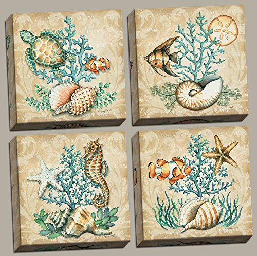 Sea-Life-Still-Life-Collages-Shells-Seahorses-Reef-Fish-Starfishes-Coral-Four-12x12in-Stretched-Canvases-ready-to-Hang