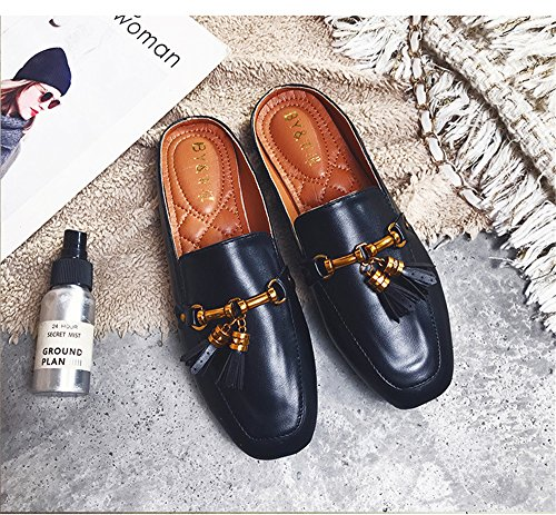 Women Slippers On Mule Backless Loafers Womens Black Loafers Loafers for Slip AGoGo qOwaHE4vH