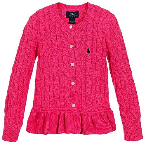 Ralph Lauren Polo Girls Cotton Peplum Cable Cardigan Sweater (6)