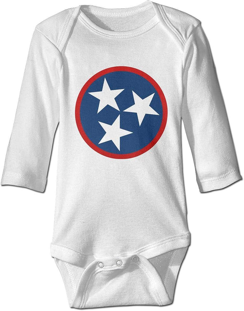 Marsherun Newborn Baby Boys Girls Tennessee Tri Star Flag Long-Sleeve Bodysuit Clothes Playsuits