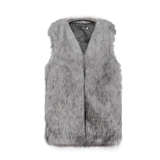 finest selection b09d5 c969b mioim Fellweste Damen Elegant Winter Weste Fell Jacke ...