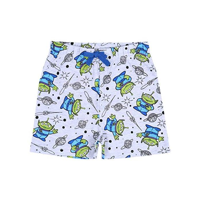 61IE%2BphqpSL Pijama de color gris y azul formado por una camiseta de manga corta y pantalones cortos. Pijama con estampado de los personajes de 99% Algodón, 1% Poliéster