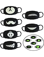 Kbnian 6pack Face Mouth Mask Luminous Unisex Cotton Exo Mask with Anti-dust Black Face Cover for Halloween Cosplay Party Cycling Outdoor, 6 Different Patterns