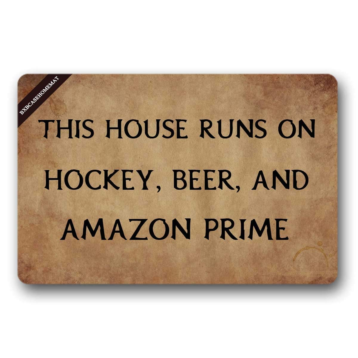 This House Runs On Hockey, Beer, and Welcome Doormat Decorative Doormat Quote Doormat Welcome Mat Front Porch 23.6(L) X15.7(W) inch F. Twiggs