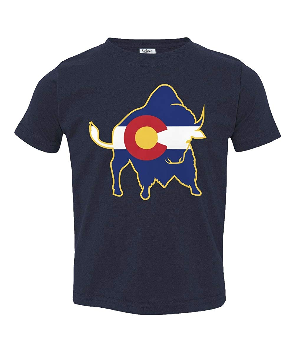 Societee Buffalo Colorado Flag Little Kids Girls Boys Toddler T-Shirt