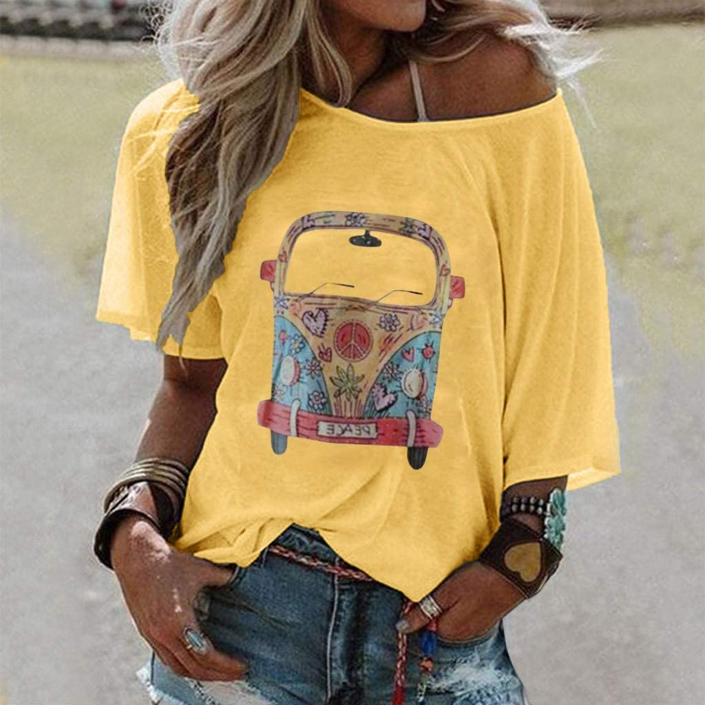 Womens Summer Tops Short Sleeve Letter Graphic Printed T Shirt Loose O Neck Casual Blouse Tees