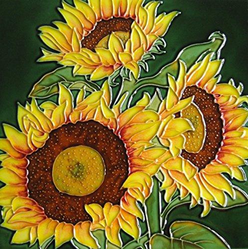 Continental Art Center 8x8 Art Tile-Three Sunflowers