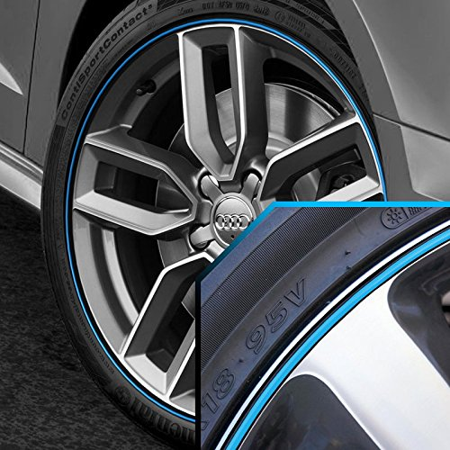 Wheel Bands Sky Blue in Black Pinstripe Edge Trim for Audi A6 13-22