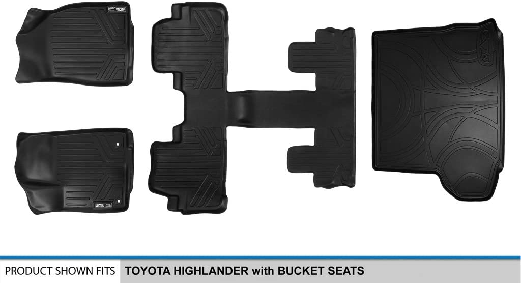 SMARTLINER Floor Mats and Cargo Liner Behind 3rd Row Set Black for 2014-2019 Highlander with 2nd Row Bucket Seats No Hybrid