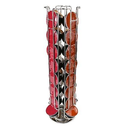 genuinestar Soporte para cápsulas Dolce Gusto para 24/32 Cápsulas metal cromado giratorio dispensador de