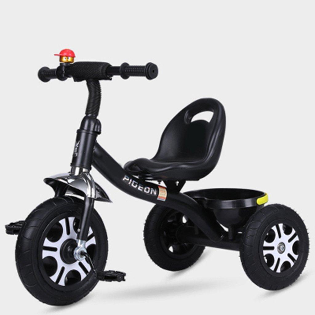 Bicicletas HAIZHEN   Cochecito Triciclo para Niños 1-6 Años De Edad Ligero Rueda Vacía De Titanio No Inflable A Prueba De Explosiones recién Nacido (Color : Negro)