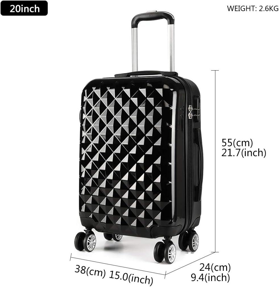 Kono Reise Koffer Trolley Rollkoffer 4 Rollen Zwillingsrollen Hartschalenkoffer Handgep/äck M 55cm /& 40 Liter ABS+PC