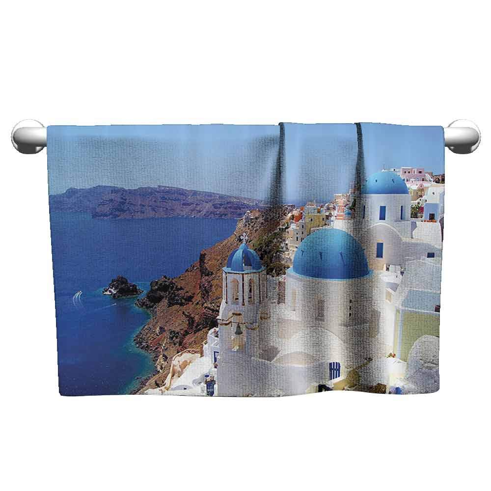 DUCKIL Large Hand Towels European City Decor Collection Santorini Greece Scenery View Picture White Stone Old Houses Soft Bath Towel 55 x 27 inch Blue White