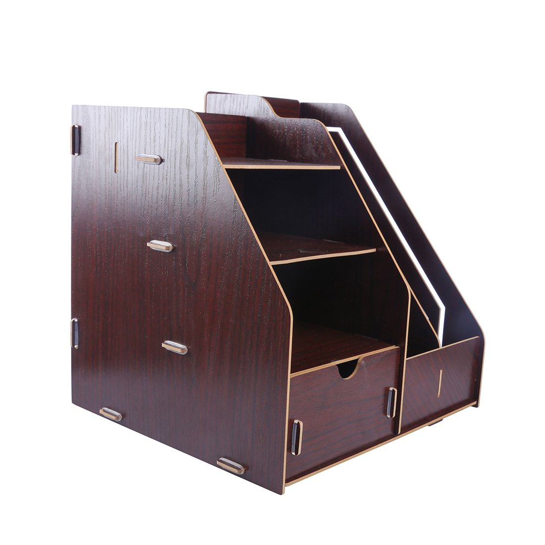 PeleusTech® Office Wood Desk Organizer with Drawer Expandable Mail Sorter Desktop Stationary Organizer -