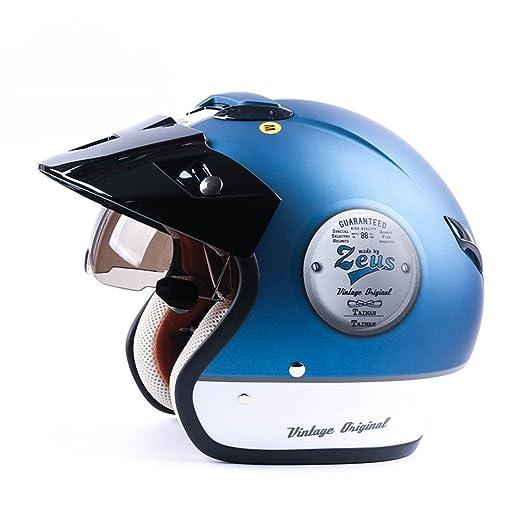 MATEROP Cara Abierta 3/4 Motocicleta Motorcross Casco Capacete Casco, Casco de Scooter Vintage Retro Motocicleta Casco de Seguridad: Amazon.es: Deportes y ...