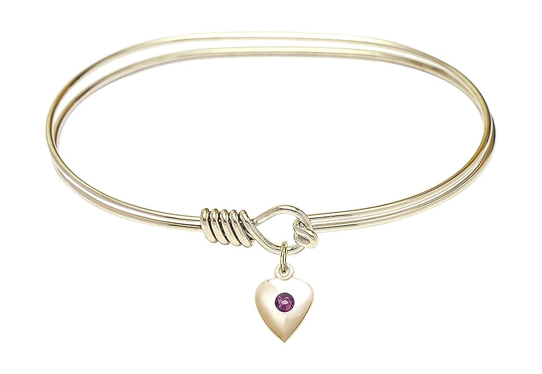 Heart Charm On A 7 Inch Oval Eye Hook Bangle Bracelet