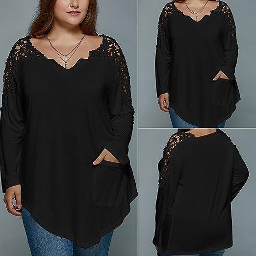 Mujer camisa manag larga moda Otoño,Sonnena ❤ Blusa Talla Extra Tops de señora Fashion Summer Lace Camiseta de manga larga para mujer Blusa superior ...