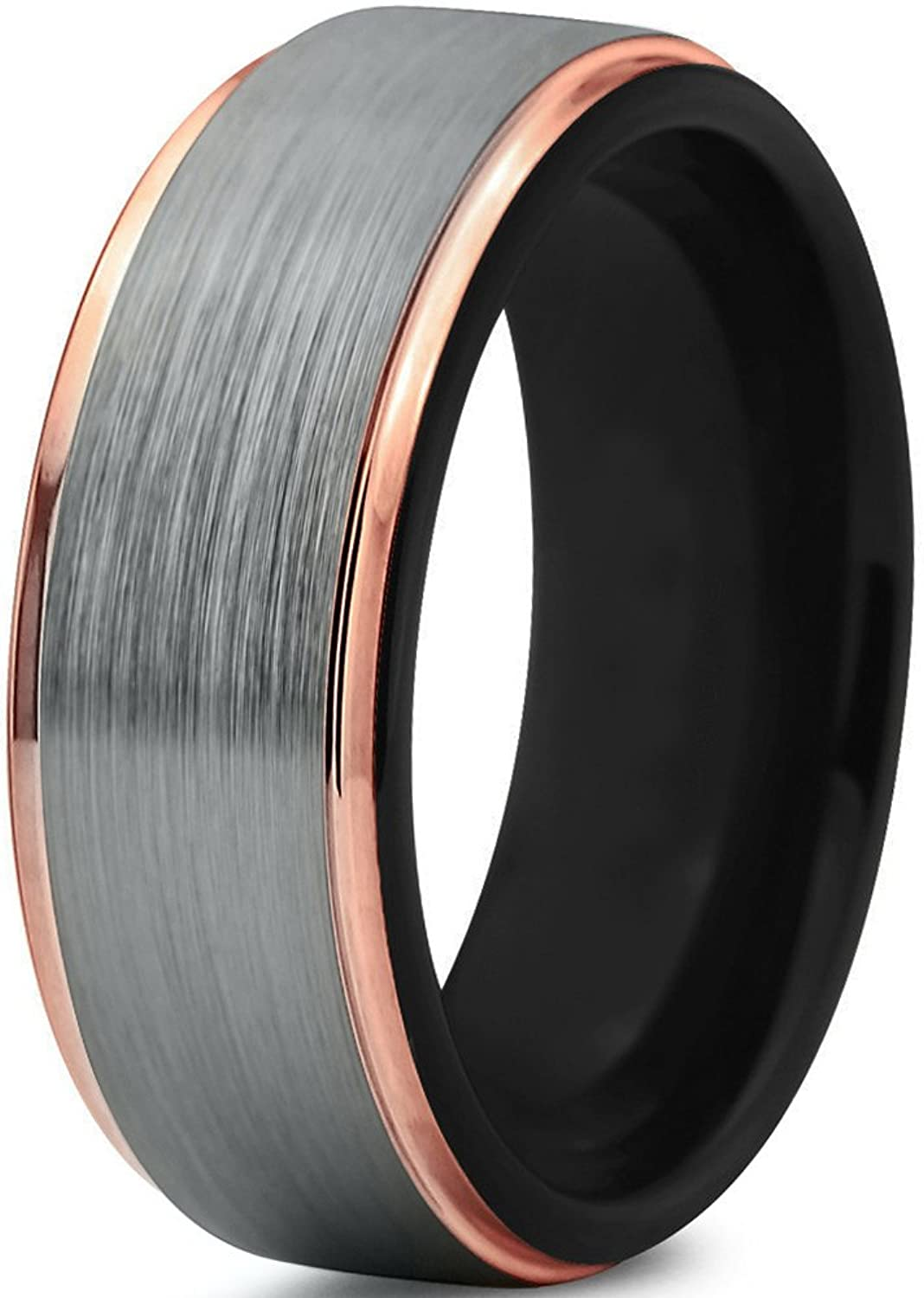 Tungsten Wedding Band Ring 8mm for Men Women Black & 18K Rose Gold Plated Stepped Edge Polished