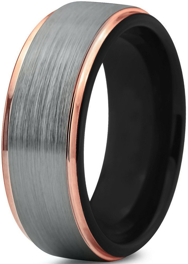 Midnight Rose Collection Tungsten Wedding Band Ring 8mm for Men Women Black & 18K Rose Gold Plated Stepped Edge Polished