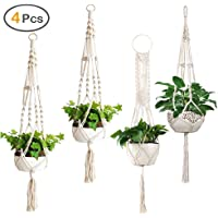 ZOUTOG Macrame Plant Hangers, Set of 4 Indoor Hanging Planter, Handmade Hanging Plant Holder - 43 Inch, 4 Legs