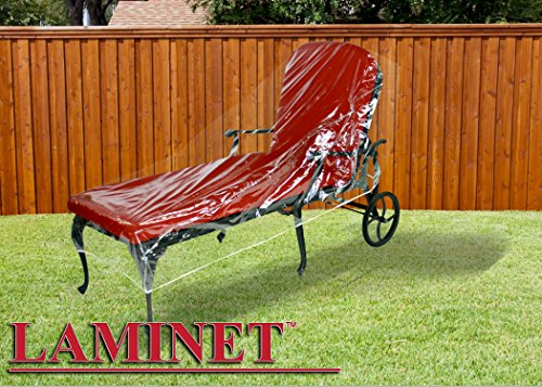 LAMINET Crystal Clear Heavy-Duty Waterproof Plastic Outdoor Furniture Cover - Chaise Cover - 3 Season Protection - Keep Rain, Snow & Debris Off! Premium Protection at Economy Price!