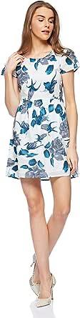 Aishvika Pleated Dress for Women - White/Blue