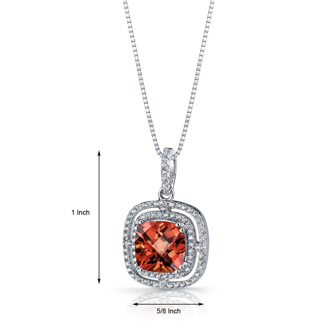 Created Padparadscha Sapphire Cushion Cut Pendant Necklace Sterling Silver 4.25 Carats