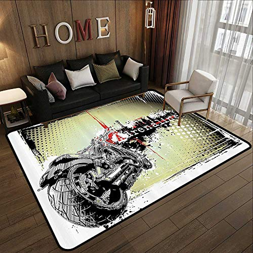 Outdoor Carpet,Digital,Modern Image of Motor with Adrenaline Quotation Poster Print,Black Charcoal Grey and White 63