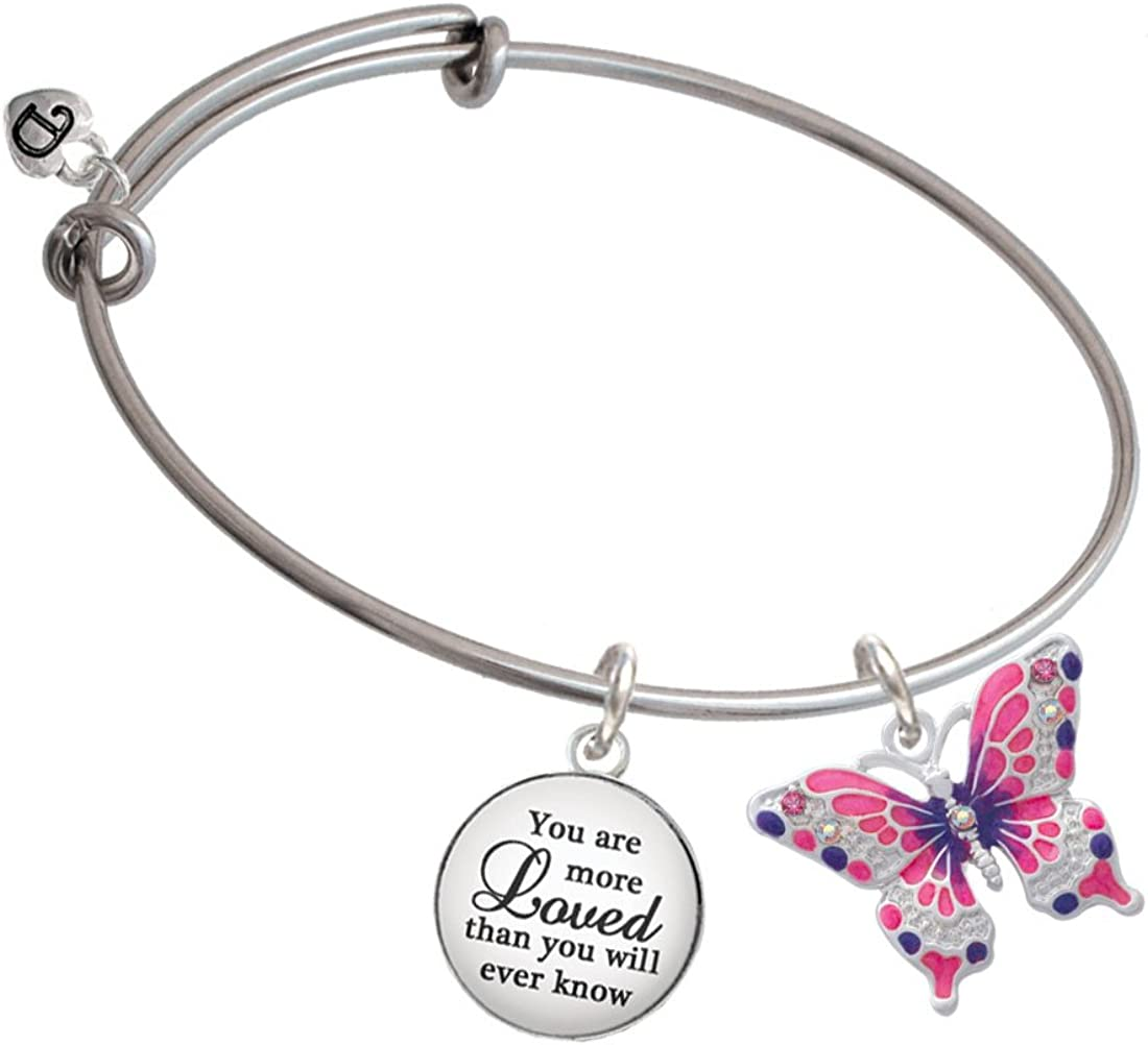 Silvertone Large Hot Pink /& Purple Butterfly You Are More Loved Bangle Bracelet