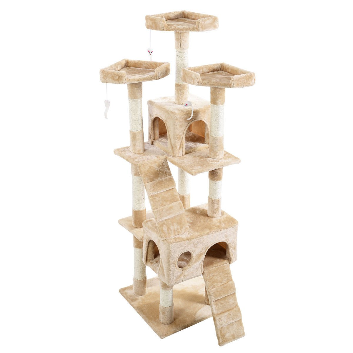 Tangkula Cat Tree Kitty Tower Condo Pet Furniture with Scratching Post Pet Play House Kitty Activity Tree (66'') (Beige) by Tangkula