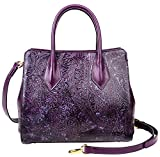 PIJUSHI Women Leather Handbags Shoulder Bags Floral Ladies Top Handle Tote Bags 33120(One Size, Violet)