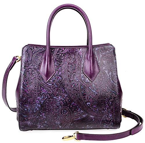 PIJUSHI Women Leather Handbags Shoulder Bags Floral Ladies Top Handle Tote Bags 33120(One Size, Violet) by PIJUSHI