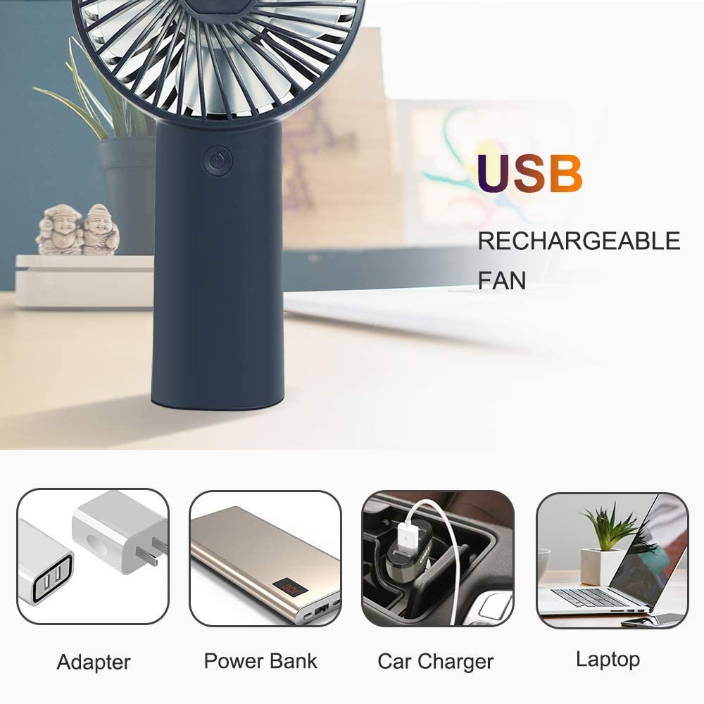Ohderii Handheld Fan Portable 4000mAh Battery Operated Rechargeable Fan 3 Speed Setting Personal Mini Fan for Home office Travel and Outdoor