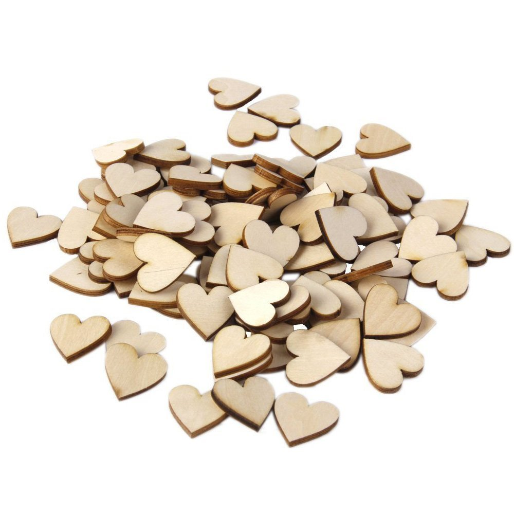 SPHTOEO Blank Plain Wooden Heart Embellishments for Crafts 20mm Pack of 100