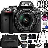 Nikon D3300 Digital SLR Camera - International Version (No Warranty) with 18-55mm VR II Lens - Black (24.2MP) + 19PC Bundle 32GB Accessory Kit + MORE
