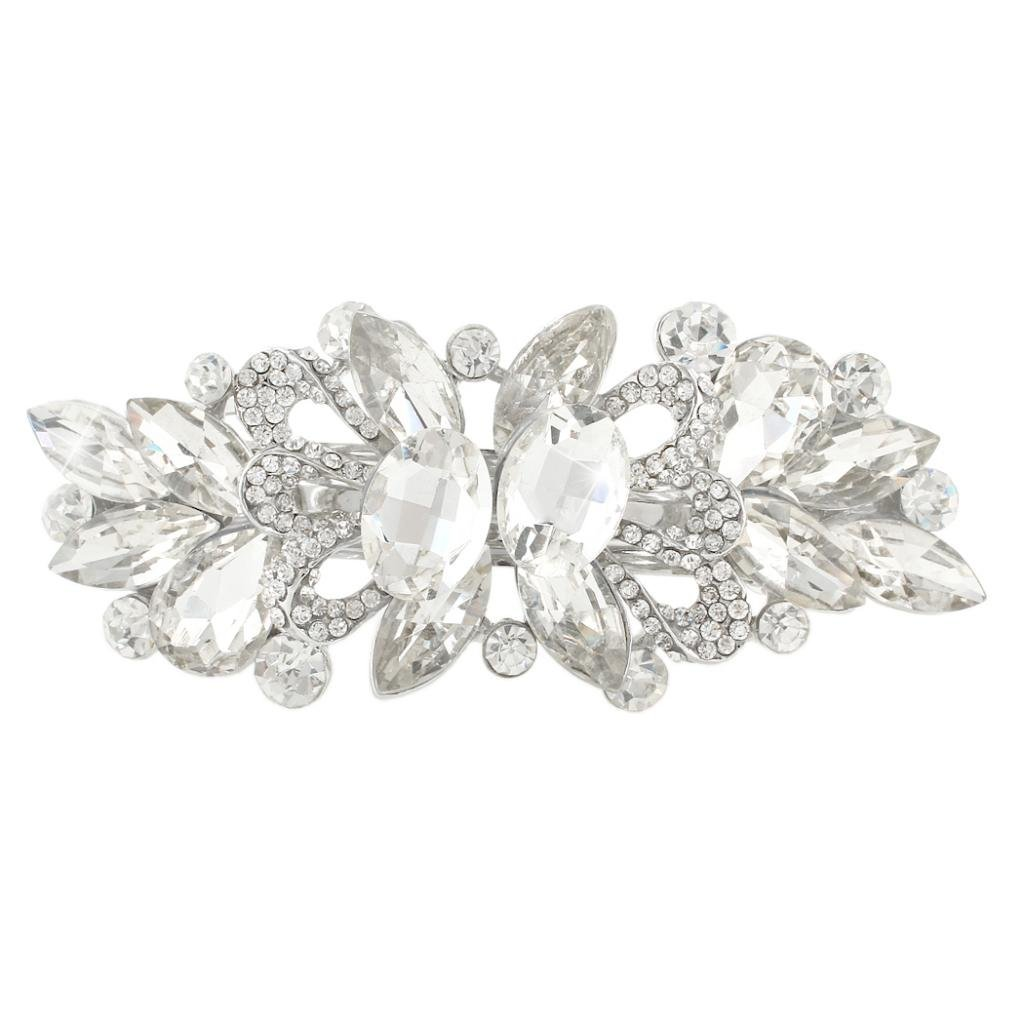 Wedding Art Deco Barrette Hair Clip Clear Austrian Crystal Silver-Tone N03910-1 Ever Faith