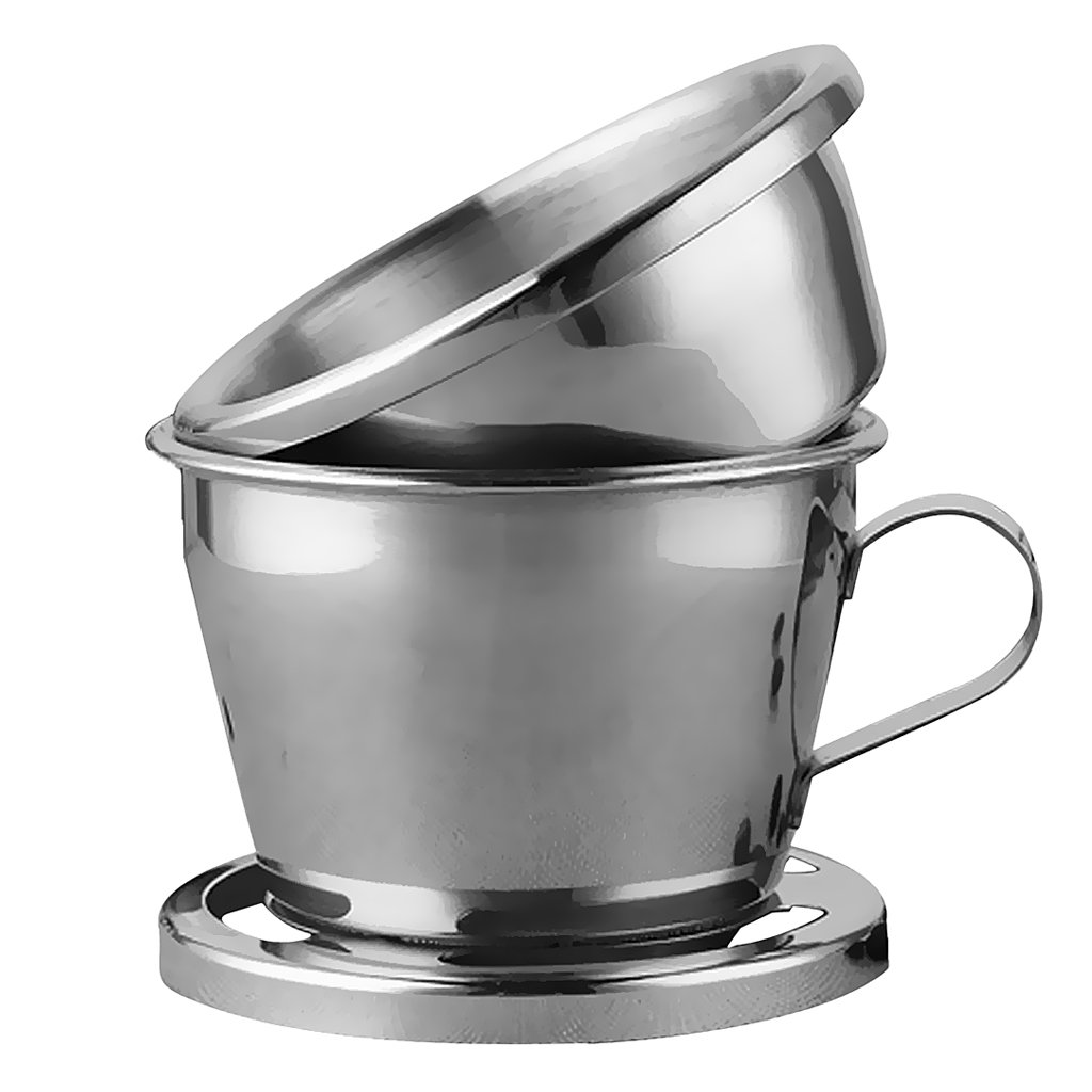 MagiDeal Coffee Dripper Drip Brewing Pot Coffee Filter Brew Coffee Pot Percolators Hot & Cold Coffee Maker Stainless Steel