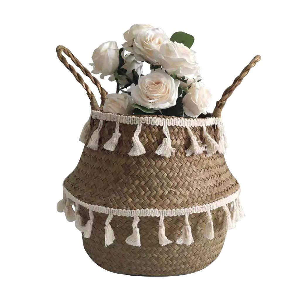 Colorzonesd Seagrass Wicker Basket Flower Pot Folding Basket Storage Basket Decoration (C)