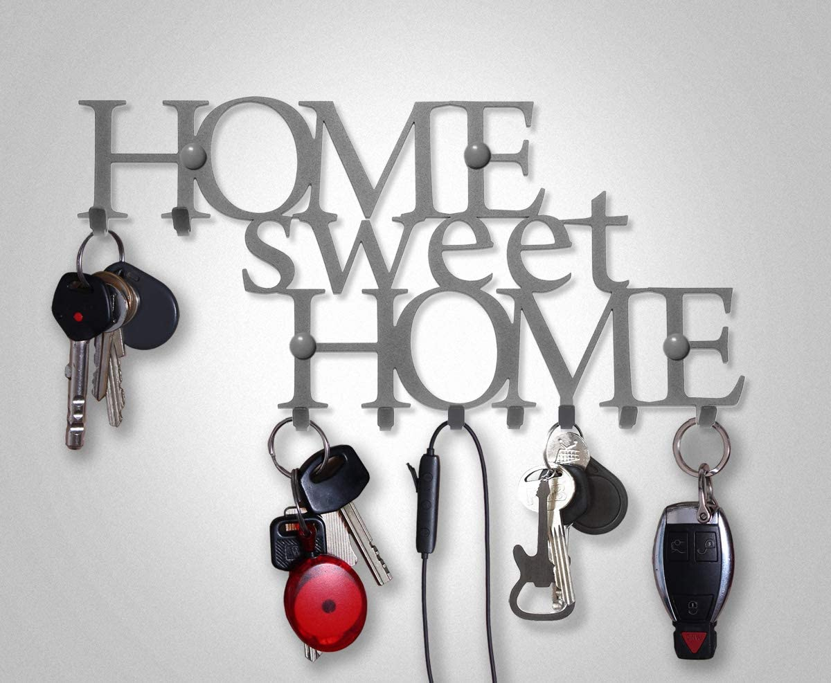 Kitchen Vehicle Keys or Garage Metal Hanger for Front Door Vintage Decor 9-Hook Rack Work Store House Decorative Car M-KeyCases Key Holder for Wall Home Sweet Home